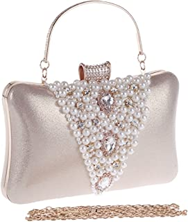 Sturdy Women's Diamond Evening Party Handbag Cocktail Party Portable Pearl Handbag Clutch Purse. Large Capacity (Color : Gold)