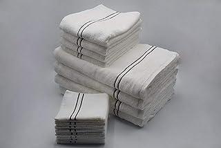 ENSO CYPRESS Bath Bundle (4 Bath Towel, 4 Hand Towel, 8 Face Towel), White - 650 gsm/80 cm x 170 cm