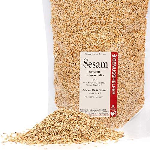 Sesam 250 Gramm ungeschält, Sesamsaat, Sesam Samen, ohne Zusatzstoffe & ohne Geschmacksverstärker - Bremer Gewürzhandel