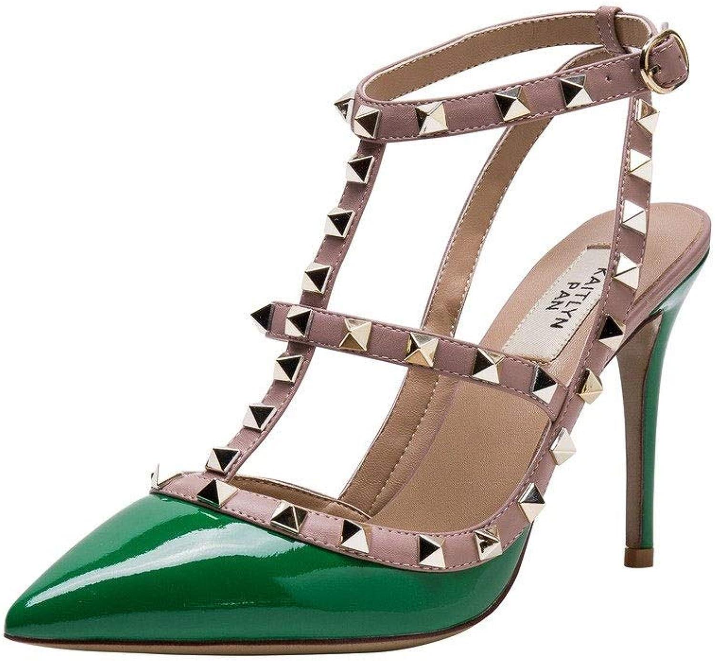 SUN HUIJIE Beschlagene Slingback High Heel Leder Pumps Knöchelriemen Kleid SchuheHigh Heel Sandals (Farbe   Grün, größe   10.5)  | Das hochwertigste Material