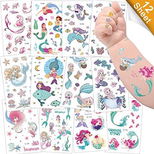 Sporgo Tattoo Kinder, Einhorn Meerjungfrau Dinosaurier Tier Weltraum Party Tattoos Set,Temporäre Tattoos Kinder Aufkleber für Mädchen Kindergeburtstag Mitgebsel Party (Meerjungfrau)