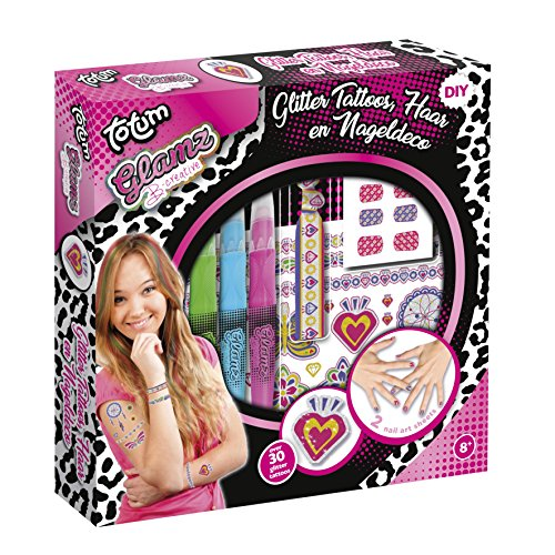 Totum Glamz Kreativset: Glitzertattoo-, Haar- und Nagelset, 3 verschiedene Haarkreidefarben, Ibiza-Elastikband, 50 Glitzertattoos, 48 Nagelsticker