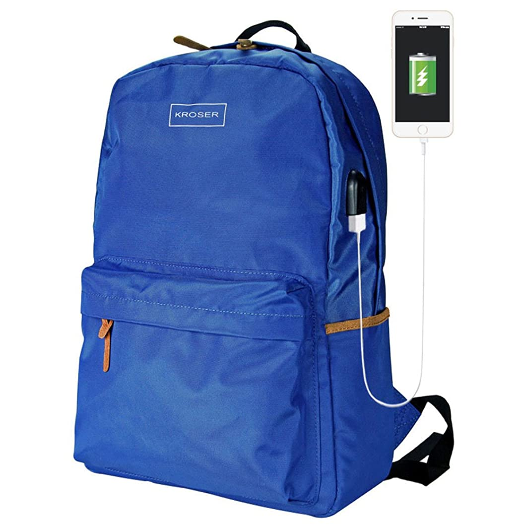 KROSER Laptop Backpack 15.6 Inch Laptop Bag Water Repellent Daypack Vintage School Computer Bag with Reflective Logo for School/Travel/Women/Men-Blue