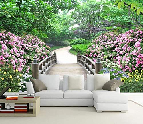 TUJOJO Fototapete Parklandschaft Garten Vlies Wand Tapete Wohnzimmer Schlafzimmer Wandbild Wanddeko350x245CM