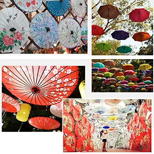 Pwshymi Sombrilla Vintage Parasol Pintado a Mano Estable Limpio Durable Exquisito Paraguas Vintage Sala de Estar Exhibición Tienda para Realizar Bodas Escenas múltiples(Guo Se Tian Xiang, Blue)