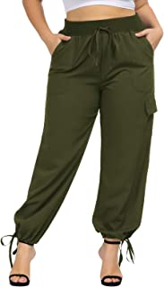 Hanna Nikole Women's Plus Size Drawstring Relaxed Fit Elastic Waist Full Length Cargo Pants with Pockets