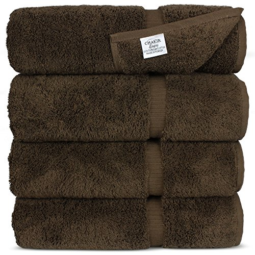 Chakir Turkish Linens Turkish Cotton Luxury Hotel & Spa Bath Towel, Bath Towel - Set of 4, Cocoa
