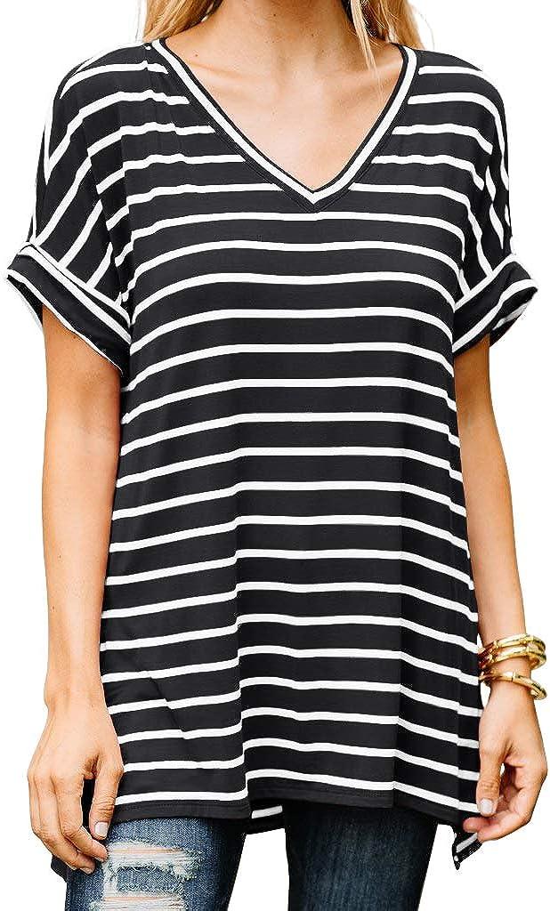 HiMONE Women's Short Sleeve V Neck Oversized Tee T Shirt Striped Print Side Split Tunic Tops