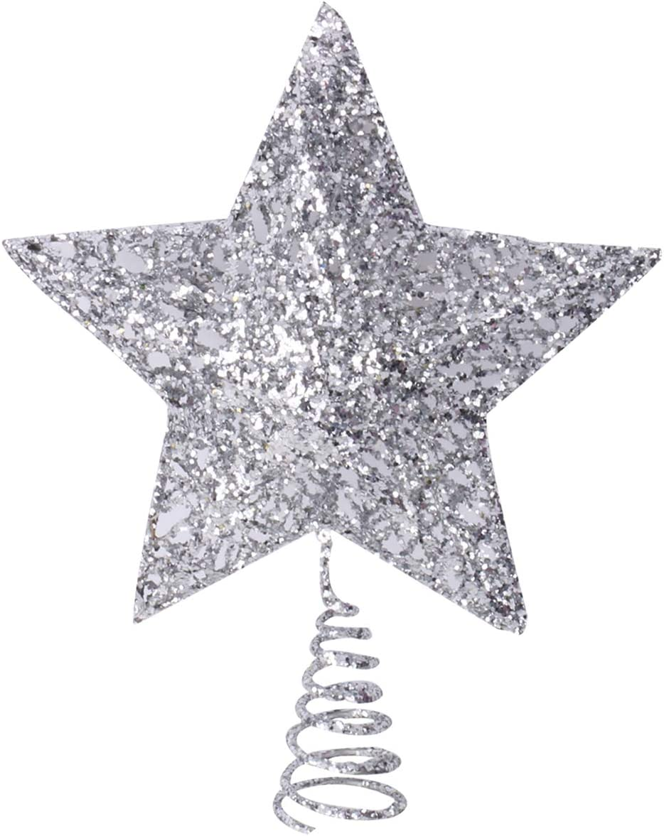 Olen 6.3 Inch Silver Limited time sale Star Metal Toppe Large-scale sale Tree Christmas Topper