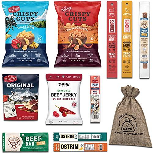 Beef Jerky Variety Pack: Healthy Beef Meat Sticks, Pork...