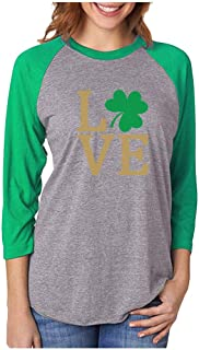 Tstars Irish Clover Love St. Patrick's Day 3/4 Women Sleeve Baseball Jersey Shirt