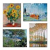 LuxHomeDecor Cuadros Claude Monet 4 piezas 40 x 30 cm Impresión sobre lienzo con marco de madera Art...