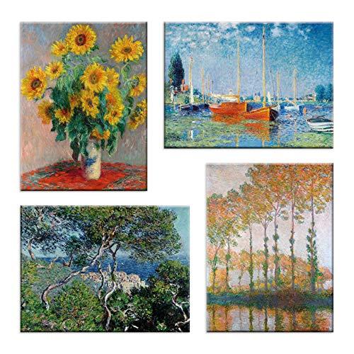 LuxHomeDecor Cuadros Claude Monet 4 piezas 40 x 30 cm Impresión sobre lienzo con marco de madera Arte decoración