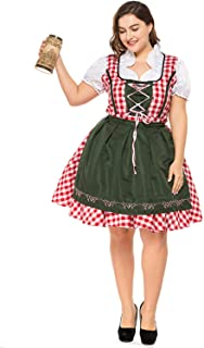 Taopleker Women German Dirndl Dress, Plus Size Serving Beer Girl Oktoberfest Costumes S-XXXL …