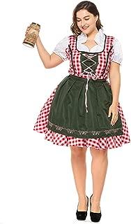Women German Dirndl Dress, Plus Size Serving Beer Girl Oktoberfest Costumes S-XXXL