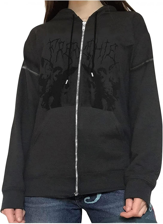 Women's Y2K Vintage Graphic Zip Up Hoodie Long Sleeve Portrait Print Pullover Sweatshirt E-Girl 90s Streetwear Jacket