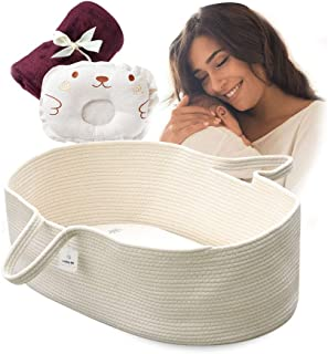ICEBLUE HD Moses Basket Cotton Rope Specious Newborn Cradle Bassinet Baby Nest Bed Travel Bed Baby Shower Gift with Portable Handles (Cream Color)