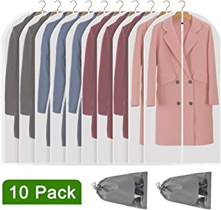 Perber Hanging Garment Bag Lightweight Clear Full Zipper Suit Bags (Set of 10) PEVA Moth-Proof Breathable Dust Cover for Closet Clothes Storage - 24'' x 48''/10 Pack