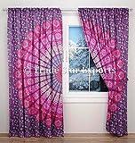 Cortinas de mandala india, cortinas bohemias para colgar en la puerta, paneles de oscurecimiento de habitación hippie, juego de 2 paneles, cortinas de algodón para sala de estar (patrón 4)