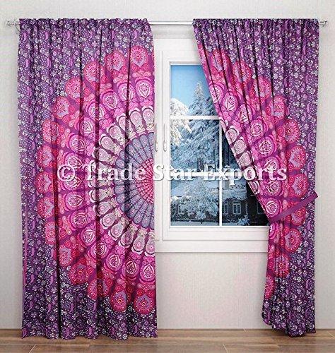 Indio Mandala cortinas, Boho Hippie para colgar de la puerta de cortinas, paneles de oscurecimiento habitación, decorativo Windows juego de 2paneles cortinas, cortinas de algodón para salón