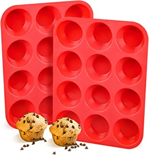 Silicone Muffin Pan, European LFGB 12 Cups Cupcake Pan, 2-Pack Muffin Tin for Muffin, Cupcake, Fat Bomb, Egg Muffin, 100% ...