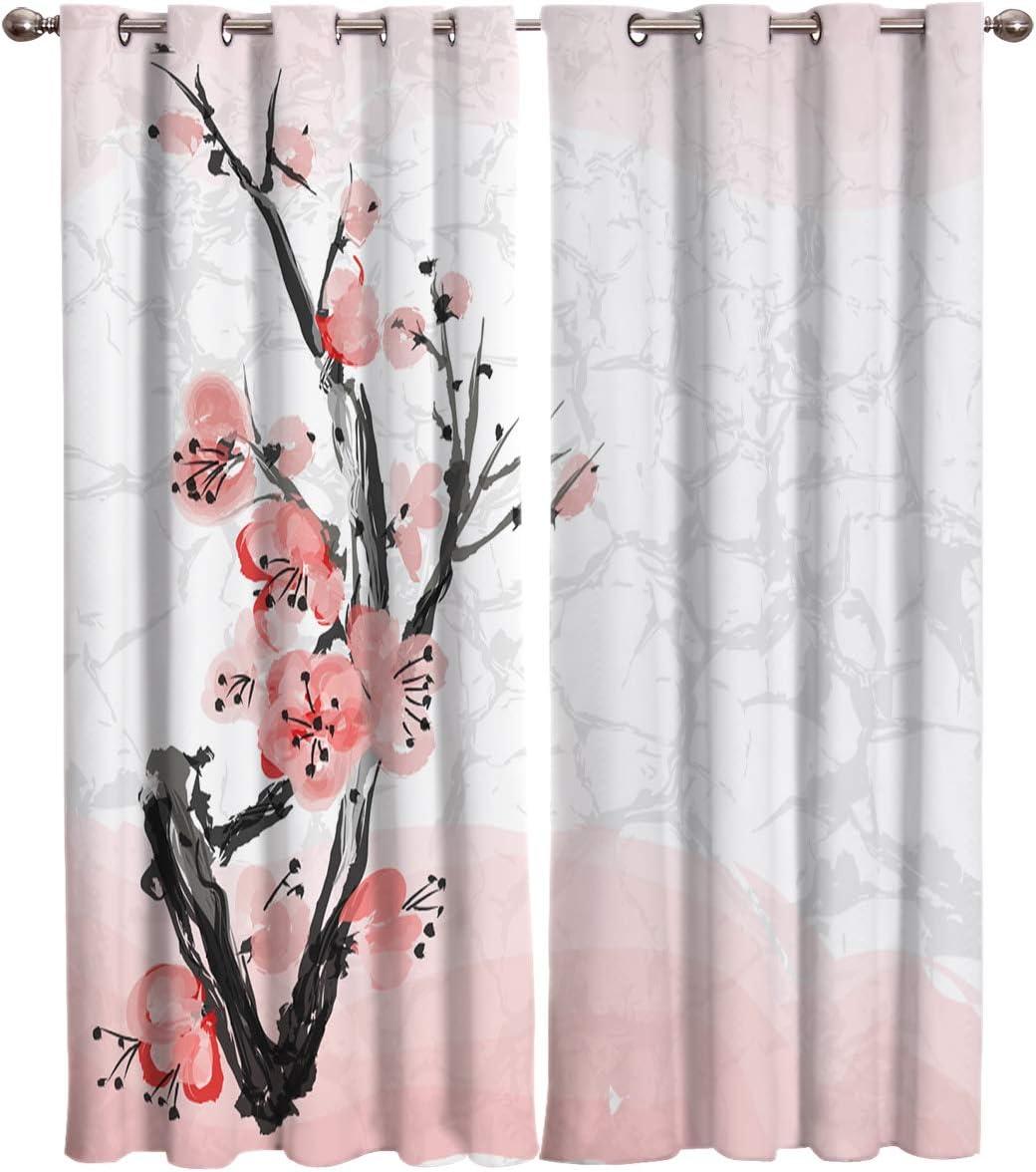 Window 永遠の定番モデル Curtain Japanese Cherry Blossom and Dra Home バーゲンセール Branch Decor