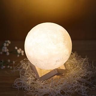 Hoomall ay lamba 3D baskı gece lambası LED lamba masa lambası Çocuk odası için Noel Halloweeb doğum günü hediye Çap 20cm