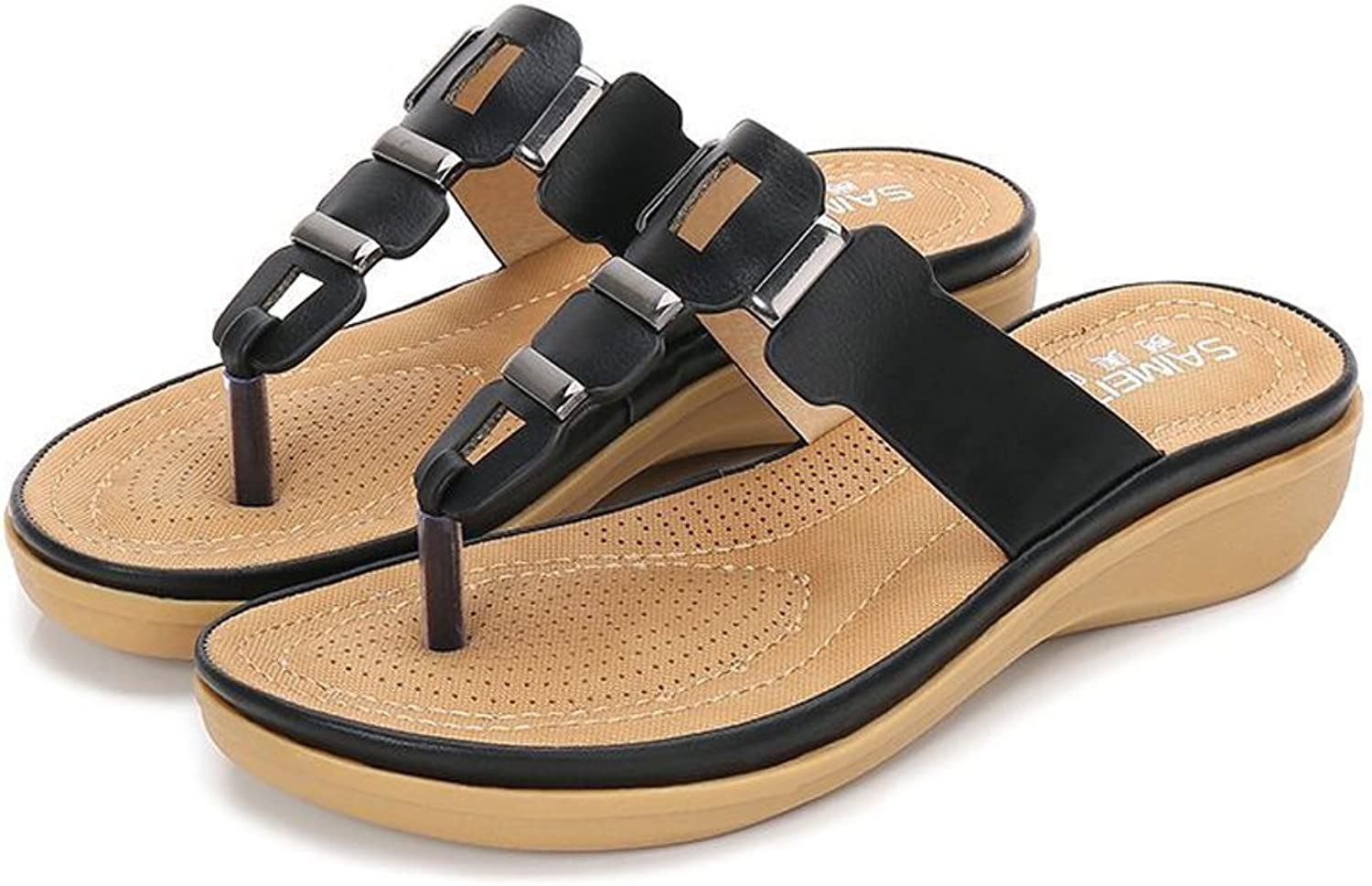 Tuoup Womens Fashion Leather Flip Flops Sandles Sandals