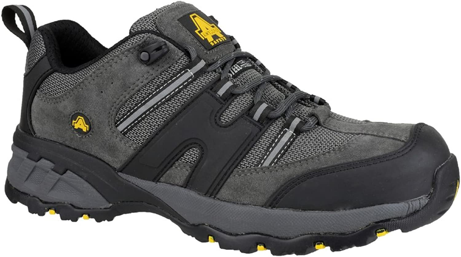 Mens Amblers Black Grey Laced Safety Toe Cap Work shoes Sizes 6 7 8 9 10 11 12