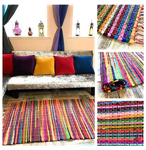 Festival Eco Friendly Fringed Rag Rug Hand Woven with Multi Colour Recycled Materials Large