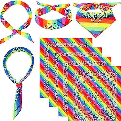 4 piezas Gay Pride LGBTQ BANDANAS DE RAINNISO, LGBT Hippie Diadema Paisley Cowboy Bandana Imprimir Headwraps Festival de pulsera Festival Diario, Bufanda cuadrada de Pride, Soporte LGBT Causas