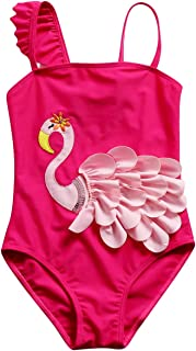 Happy Cherry Girls One Piece Swimsuits Ruffle Off Shoulder Adjustable UV Protection Beach Swimwear for 3T-8T