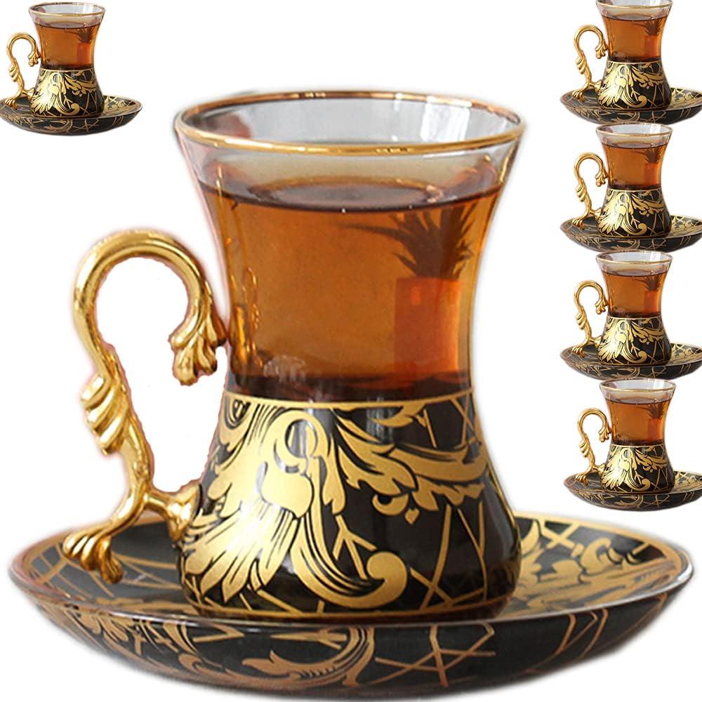 Vintage Turkish Tea Washington Mall Glasses Cups and Many popular brands Saucers of Decorative Set 6