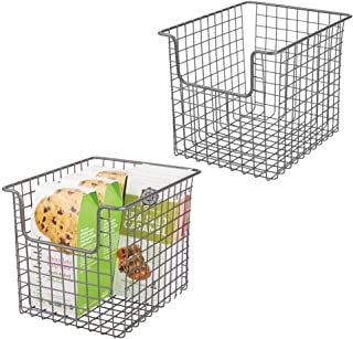 mDesign Household Metal Kitchen Pantry Food Storage Organizer Basket Bin - Farmhouse Grid Design or Cabinets, Cupboards, Shelves - Holds Potatoes, Onions, Fruit - 8