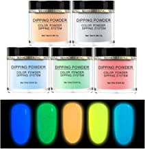 5 Colors Nails Dip Powder Kit Without Lamp Cure Natural Dry Fluorescent Effect Acrylic Glitter Nail Glow in The Dark Party Carnival Neon Colors (B Set, 5 Bottle丨10ml(0.34Oz) / Bottle)