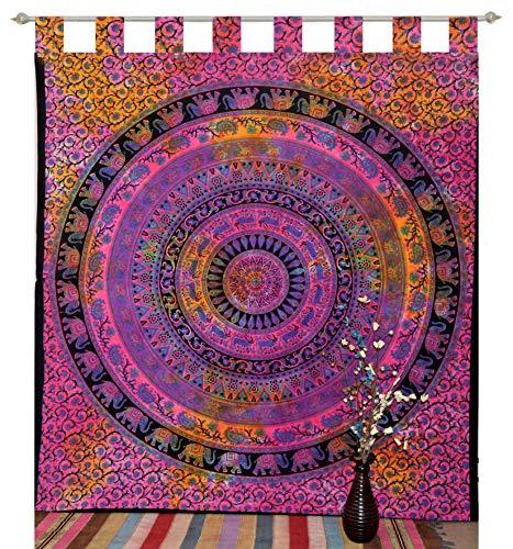 Marusthali Tab Top Tapisserie Vorhang indischen 2 Schabracken drapieren Panel Boho Dekor Fenster Vorhang indischen drapieren handgefertigte Vorhang Tapisserie werfen