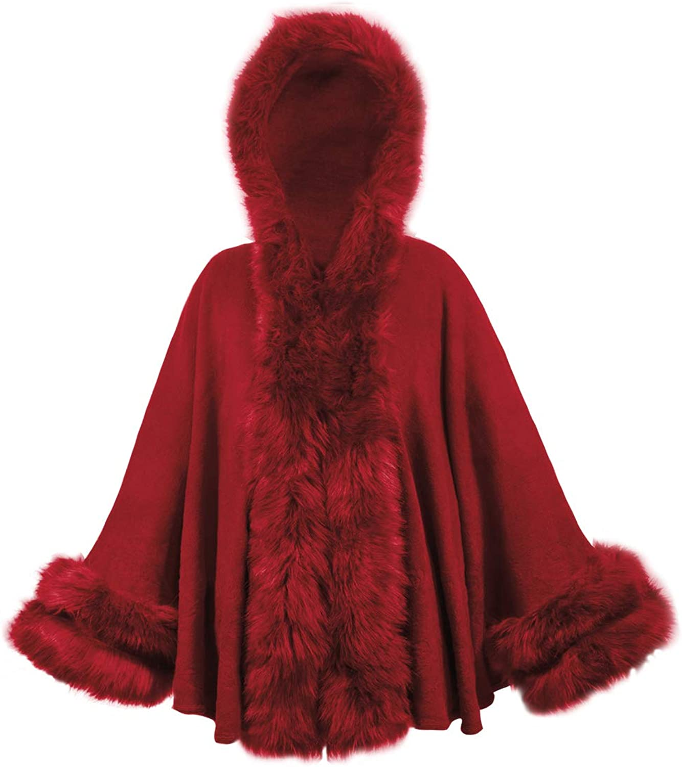 Dahlia Women's Faux Fur Poncho Cape with Trimmed Collar, Hood, and Cuffs