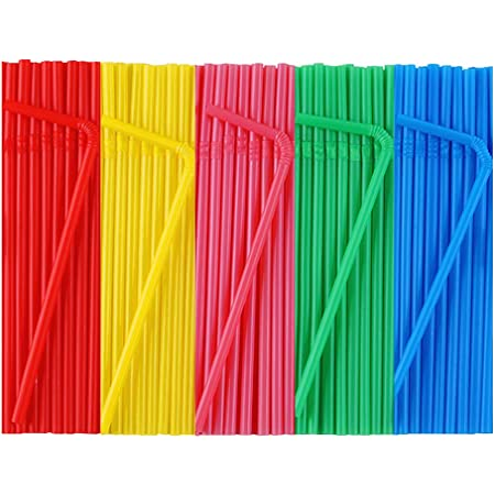 Food-Safe BPA-Free Plastic 7 3//4 Inches Jumbo Pack 300 Straws Flexible Neon Plastic Straws Over 8 Inches Stretched