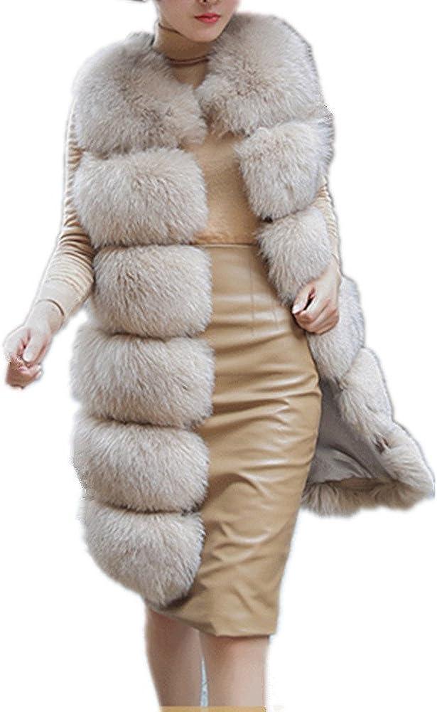 Lisa Colly Women's Faux Fox Fur Vest Long Fur Jacket Warm Faux Fur Coat Outwear