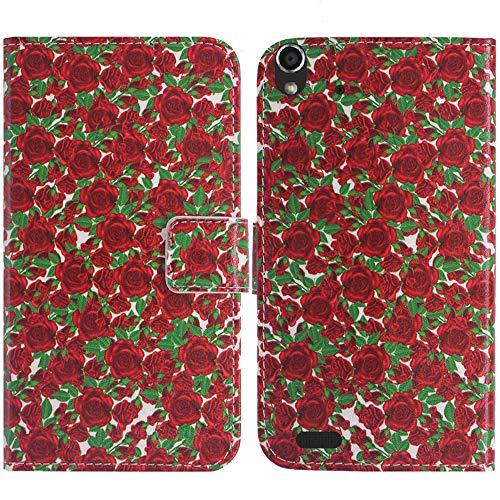 TienJueShi Rose Blume Flip Book Stand Brief Leder Tasche Schütz Hülle Handy Hülle Abdeckung Fall Wallet Cover Etüi Skin Für Medion Life P5004 MD 99253 5 inch