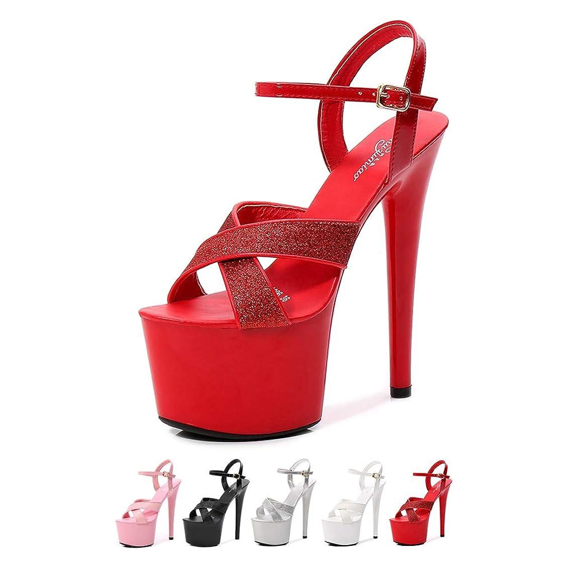 ショルダー旋回免疫するハイヒールプラットフォームストリッパーセクシーなラップポールダンスミュール靴、セクシーな防水サンダル,Red17cm,43
