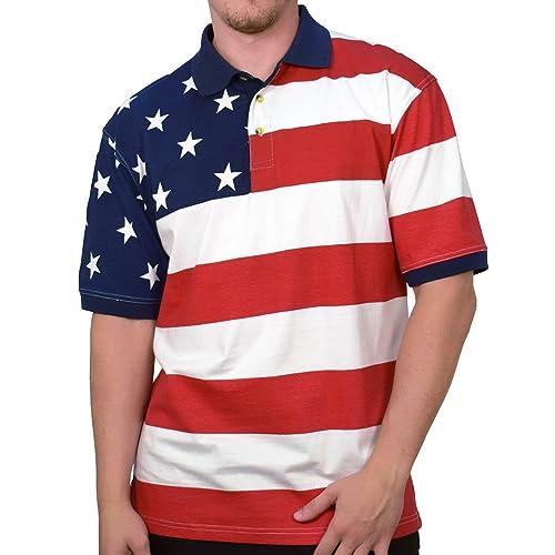 Horizontal American Flag Patriotic Mens Polo Shirt