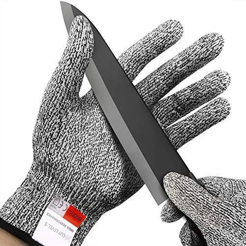 Schnitzmesser Kinder, Schnittschutzhandschuhe Klasse 5, Schnittfeste Handschuhe für Küche, Garten und Büro((8-12 Jährige) XS)