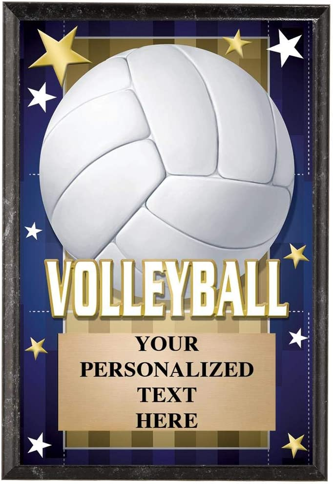Volleyball Plaques 5 x 7 Glow Pla in Trophy Elegant Dark Max 50% OFF The