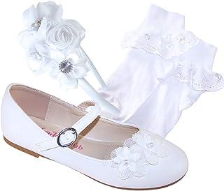 Ballerines blanches pour filles avec chaussettes blanches et bandeau en satin blanc