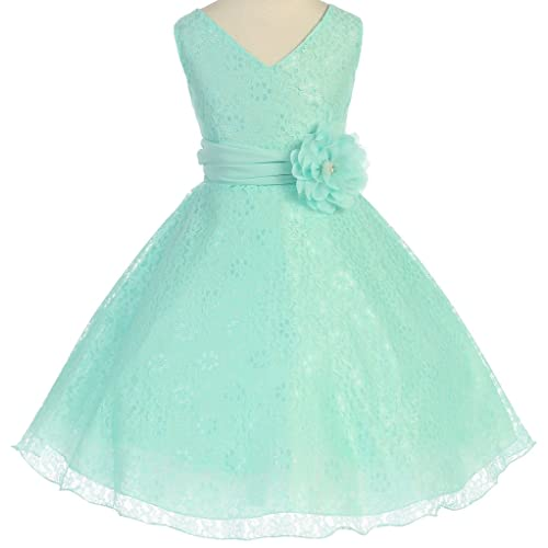 49780fff7 Flower Girl V-Neck Sleeveless Surplice Top All Lace Dress with Corsage