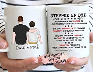 Stepped Up Dad,Bonus Dad Gifts, Stepped Up Dad Mug, Fathers Day Gift For Step Dad, Bonus Dad Mug,...
