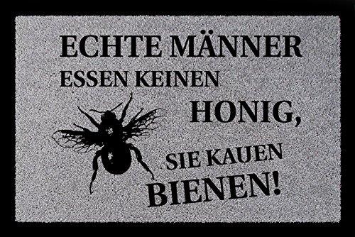 Deurmat Echte mannen eten geen honing Imker Bijen Hobby deurmat lichtgrijs