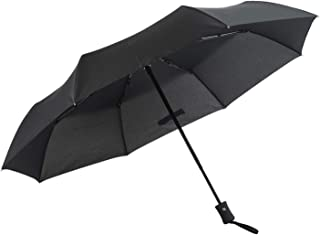 Wind Resistant Folding Automatic Umbrella Rain Unisex Business Umbrella Black Coating Parasol,Black