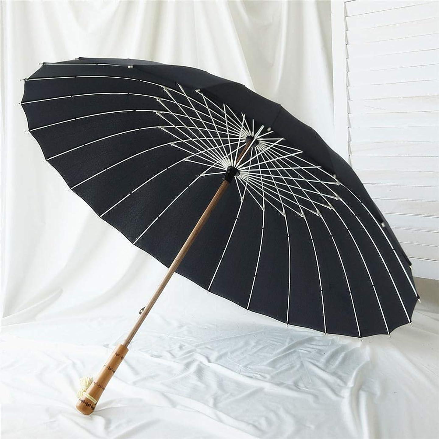 オデュッセウス染料疑い者RXY-傘 レトロ風ウッドストレートハンドル傘、男性と女性のための防風24K繊維骨竹ロングハンドル傘 (Color : Black)